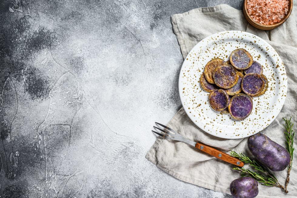 Presentación de patata morada